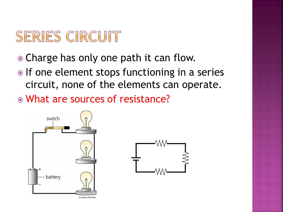 Series Circuit Charge has only one path it can flow.