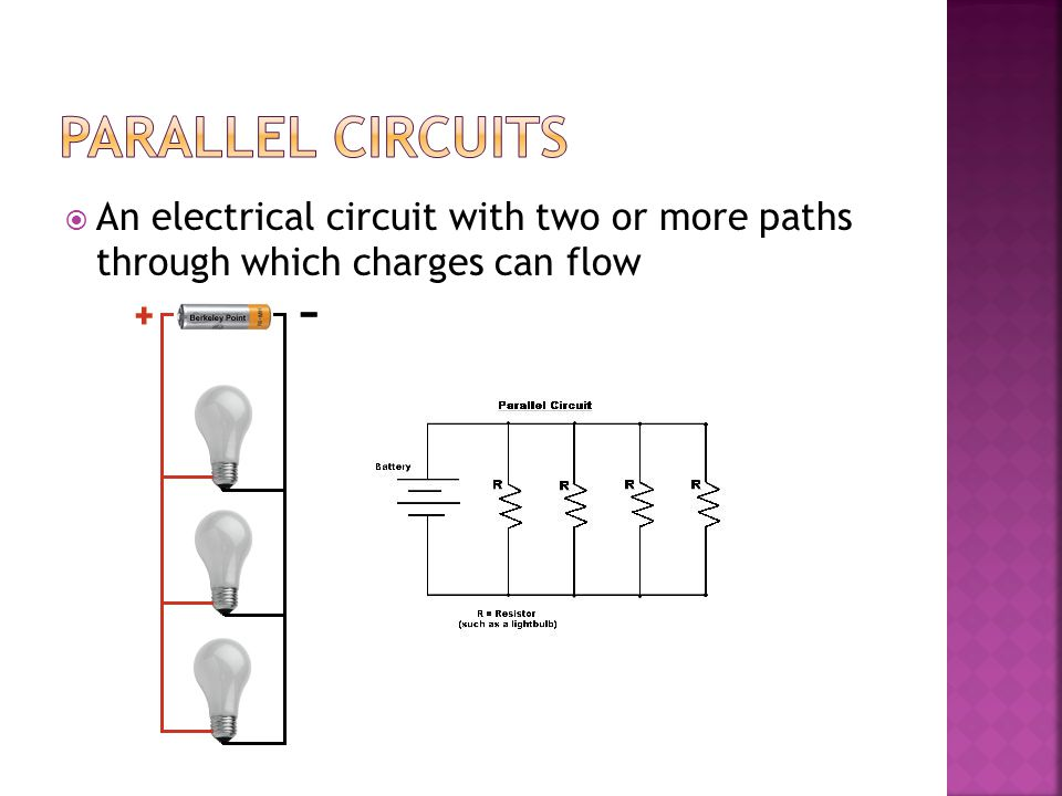 Parallel Circuits An electrical circuit with two or more paths through which charges can flow
