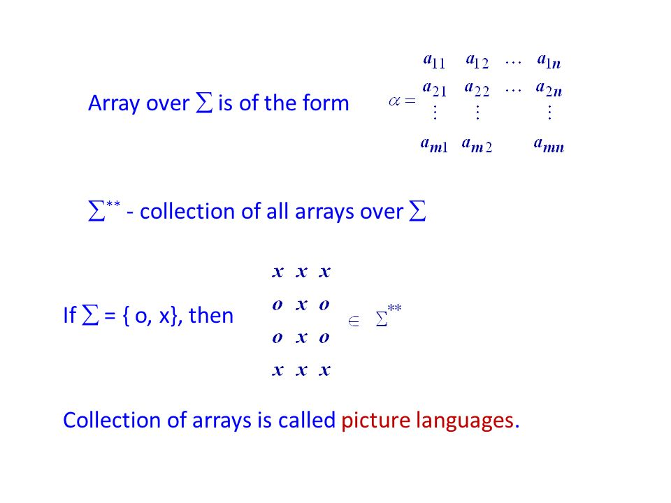 Array over  is of the form