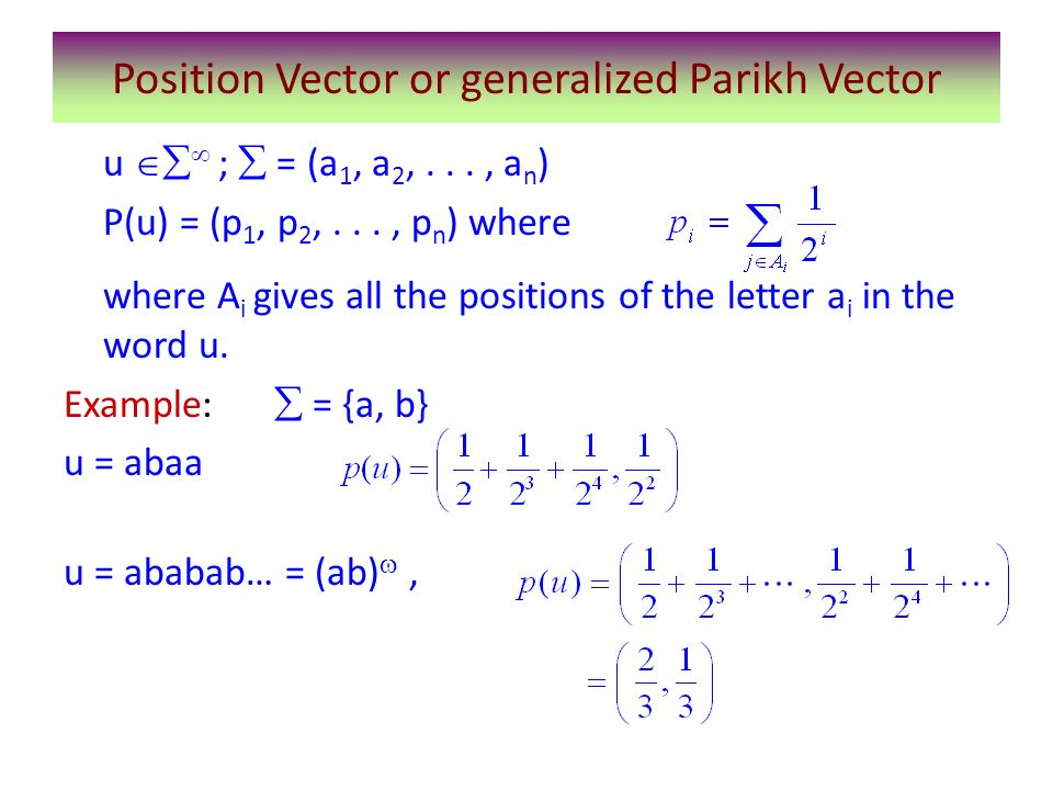 Position Vector or generalized Parikh Vector