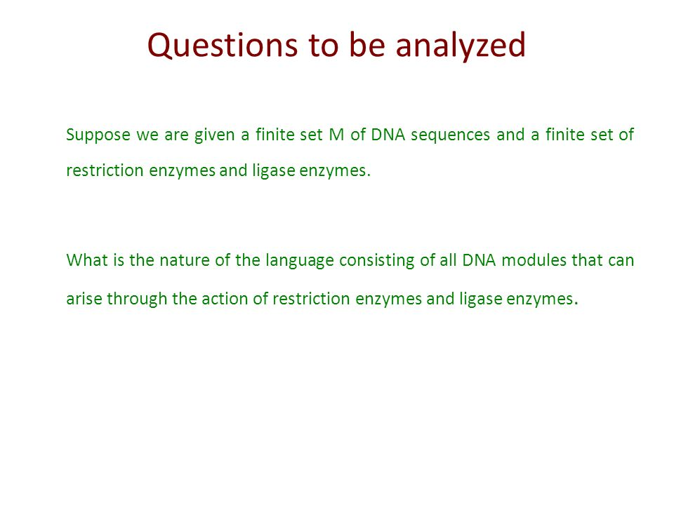 Questions to be analyzed
