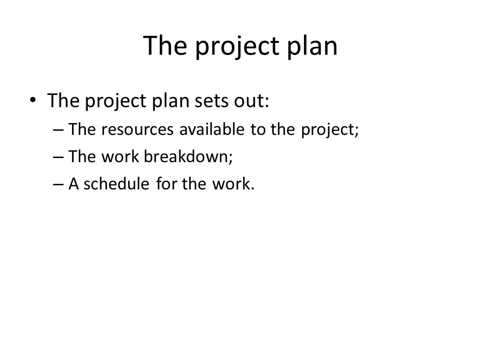 The project plan The project plan sets out: