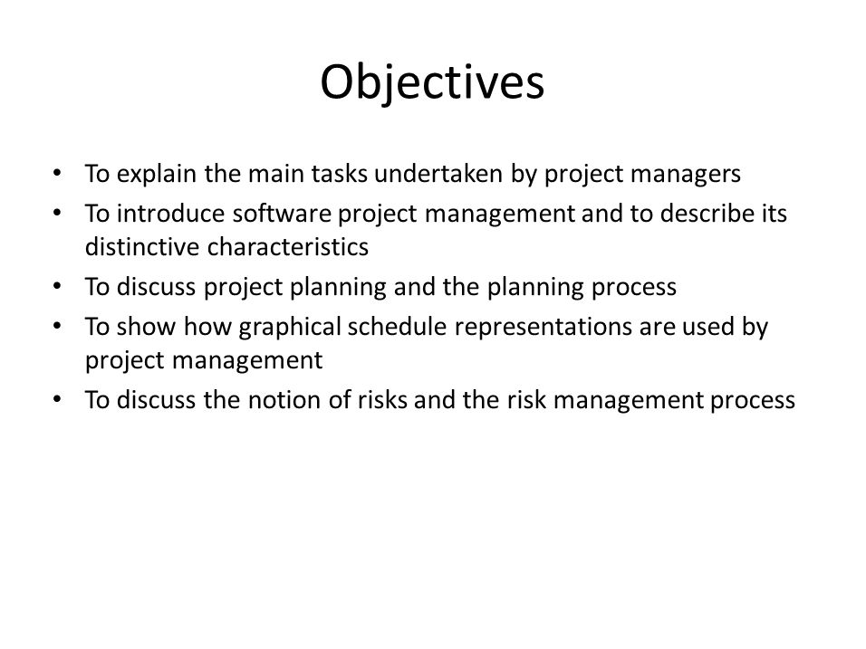 Objectives To explain the main tasks undertaken by project managers