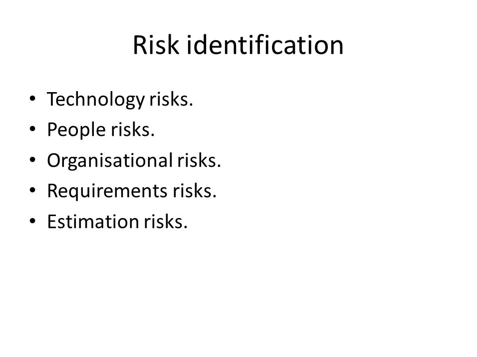 Risk identification Technology risks. People risks.