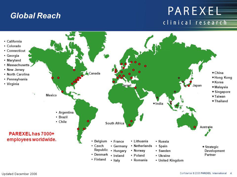 PAREXEL has 7000+ employees worldwide.