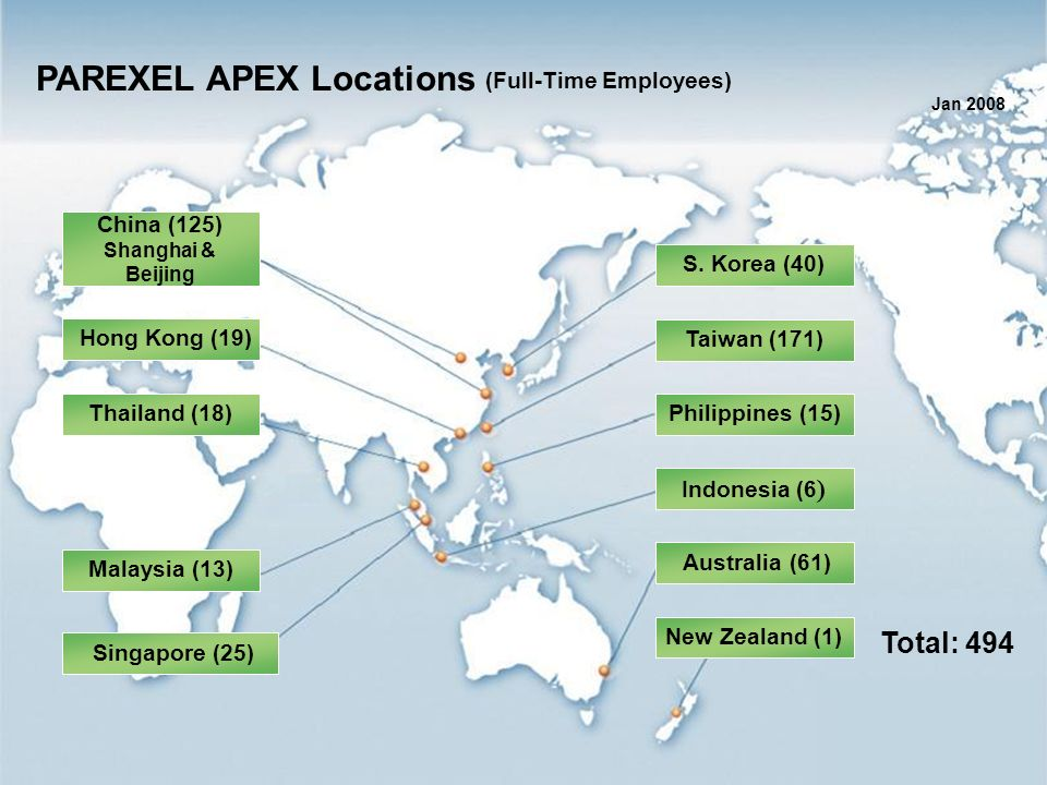 PAREXEL APEX Locations (Full-Time Employees)