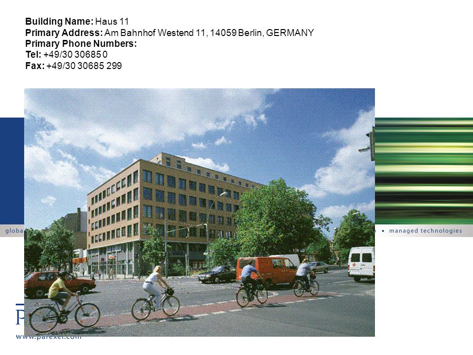 Building Name: Haus 11 Primary Address: Am Bahnhof Westend 11, 14059 Berlin, GERMANY. Primary Phone Numbers: