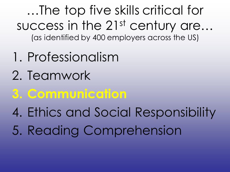 …The top five skills critical for success in the 21st century are… (as identified by 400 employers across the US)