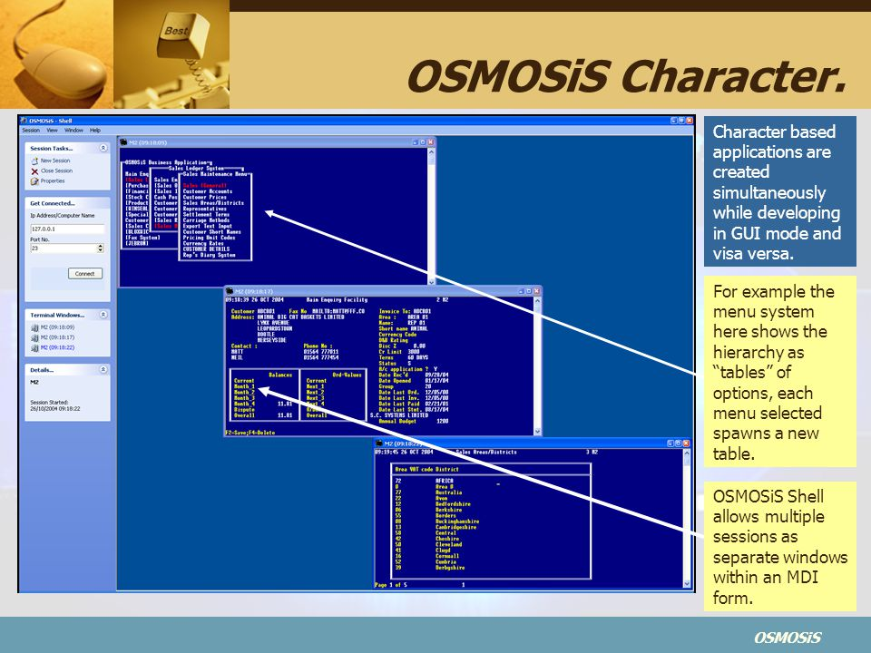 OSMOSiS Character. Character based applications are created simultaneously while developing in GUI mode and visa versa.