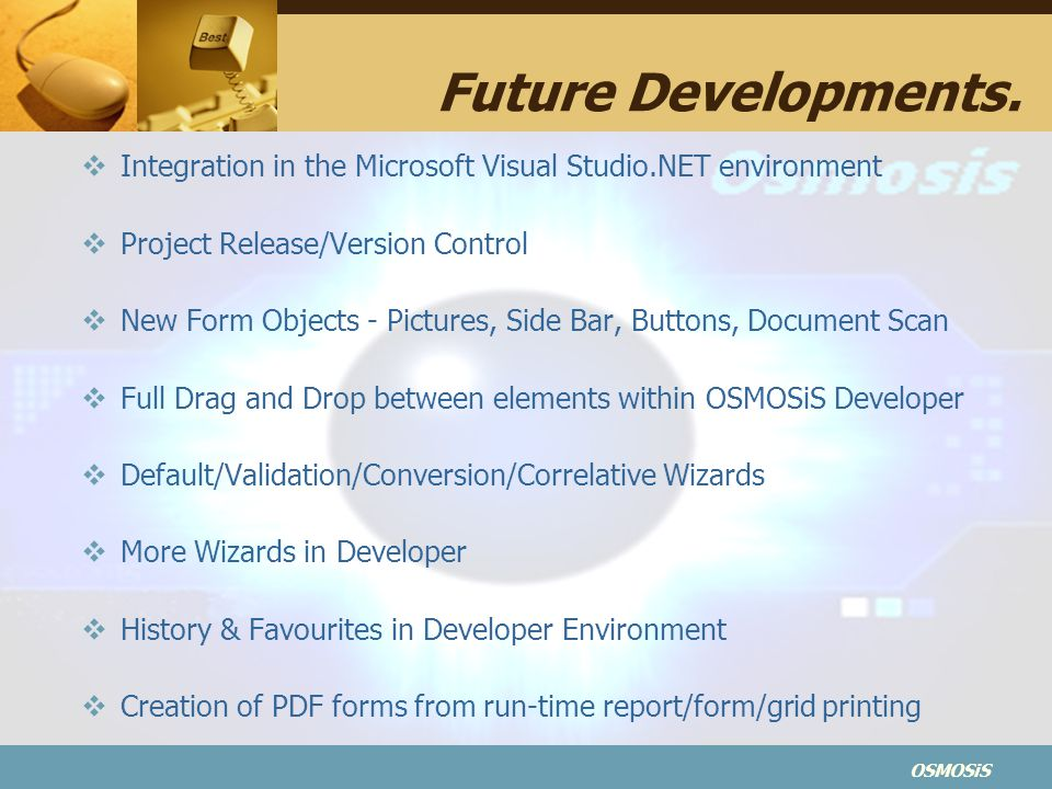 Future Developments. Integration in the Microsoft Visual Studio.NET environment. Project Release/Version Control.