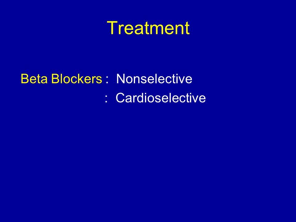 Treatment Beta Blockers : Nonselective : Cardioselective