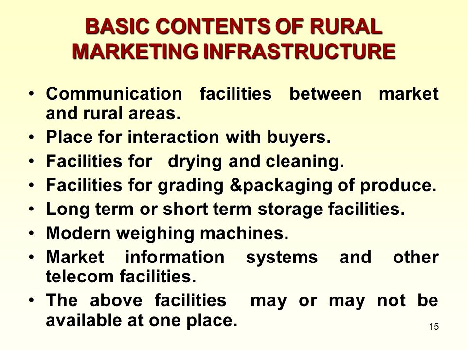 BASIC CONTENTS OF RURAL MARKETING INFRASTRUCTURE