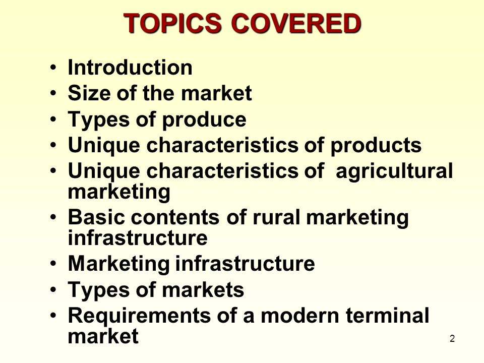 TOPICS COVERED Introduction Size of the market Types of produce