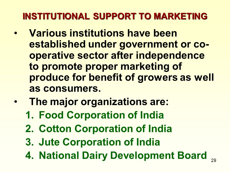 INSTITUTIONAL SUPPORT TO MARKETING