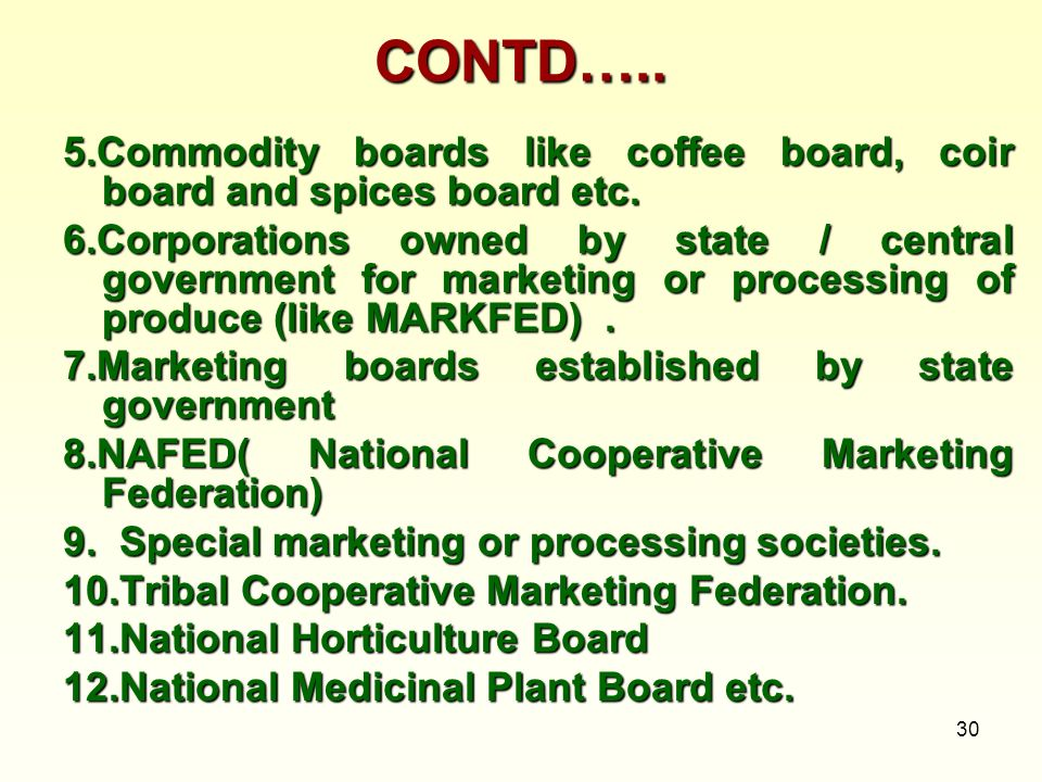 CONTD….. 5.Commodity boards like coffee board, coir board and spices board etc.