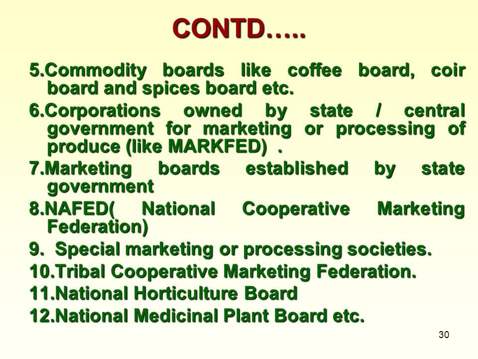 CONTD…..5.Commodity boards like coffee board, coir board and spices board etc.