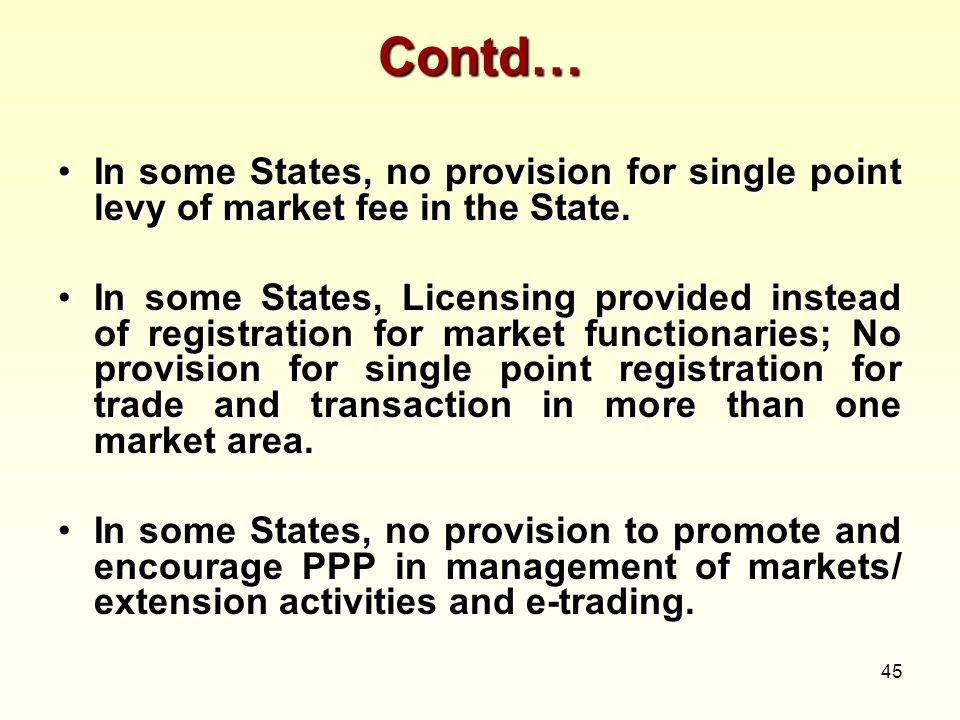 Contd… In some States, no provision for single point levy of market fee in the State.