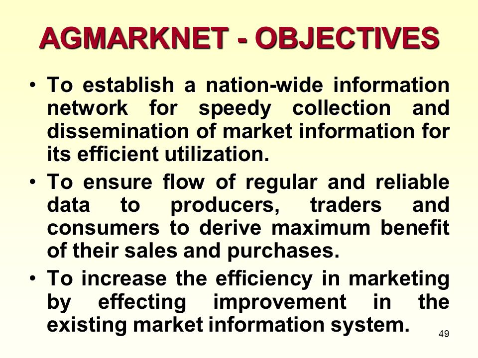 AGMARKNET - OBJECTIVES