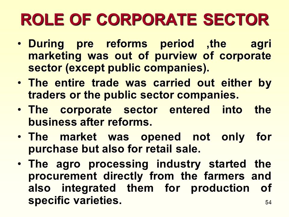 ROLE OF CORPORATE SECTOR