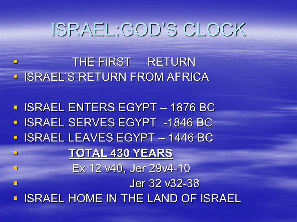 ISRAEL:GOD'S CLOCK THE FIRST RETURN ISRAEL'S RETURN FROM AFRICA