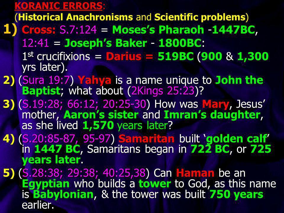KORANIC ERRORS: (Historical Anachronisms and Scientific problems)