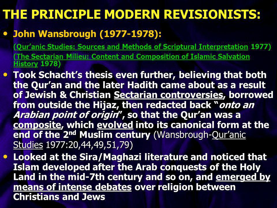 THE PRINCIPLE MODERN REVISIONISTS:
