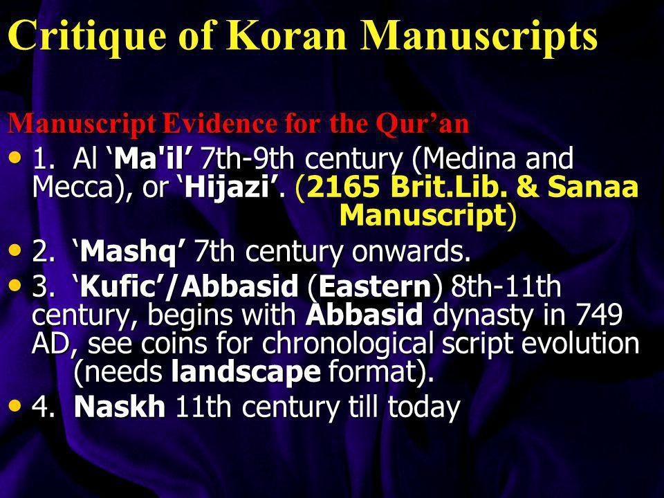 Critique of Koran Manuscripts