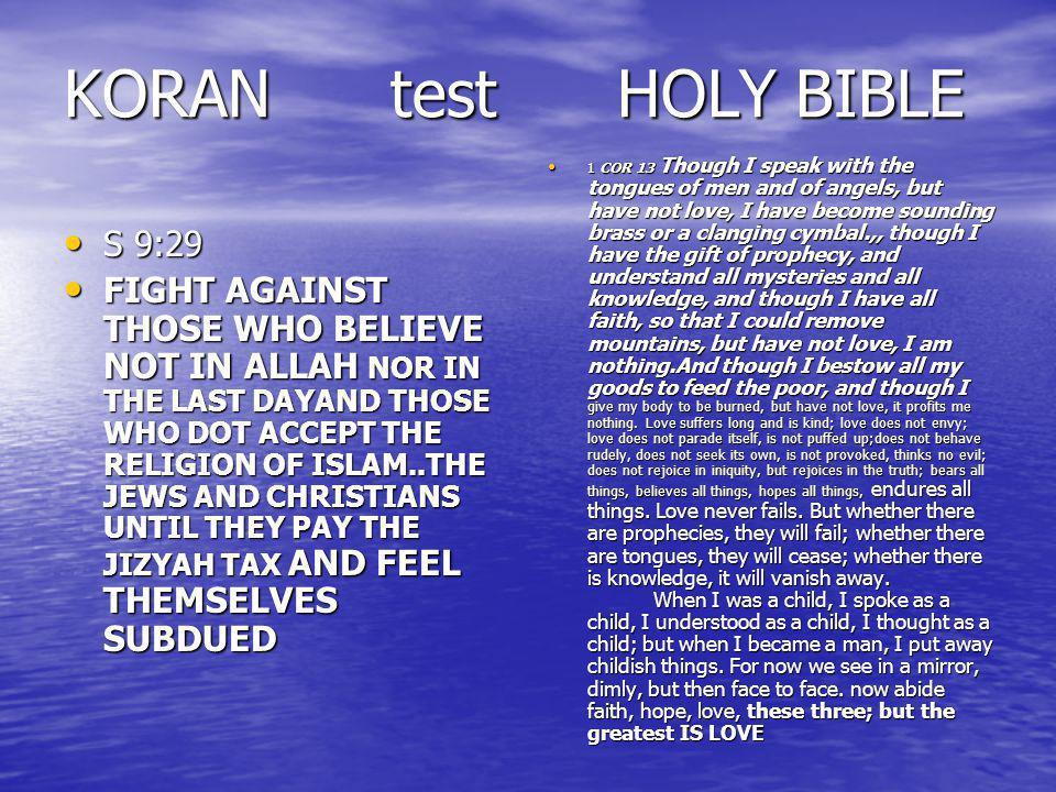 KORAN test HOLY BIBLE S 9:29