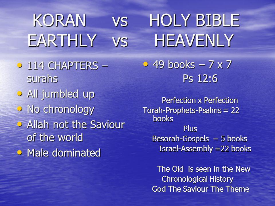 KORAN vs HOLY BIBLE EARTHLY vs HEAVENLY