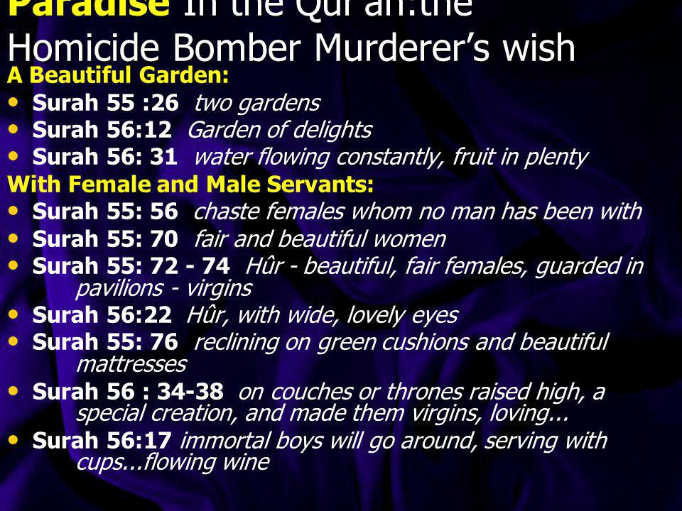 Paradise In the Qur'an:the Homicide Bomber Murderer's wish