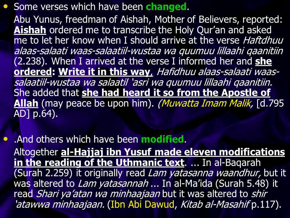 Some verses which have been changed.