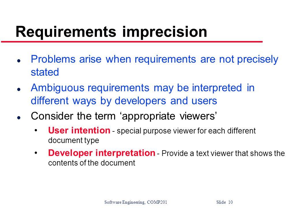 Requirements imprecision