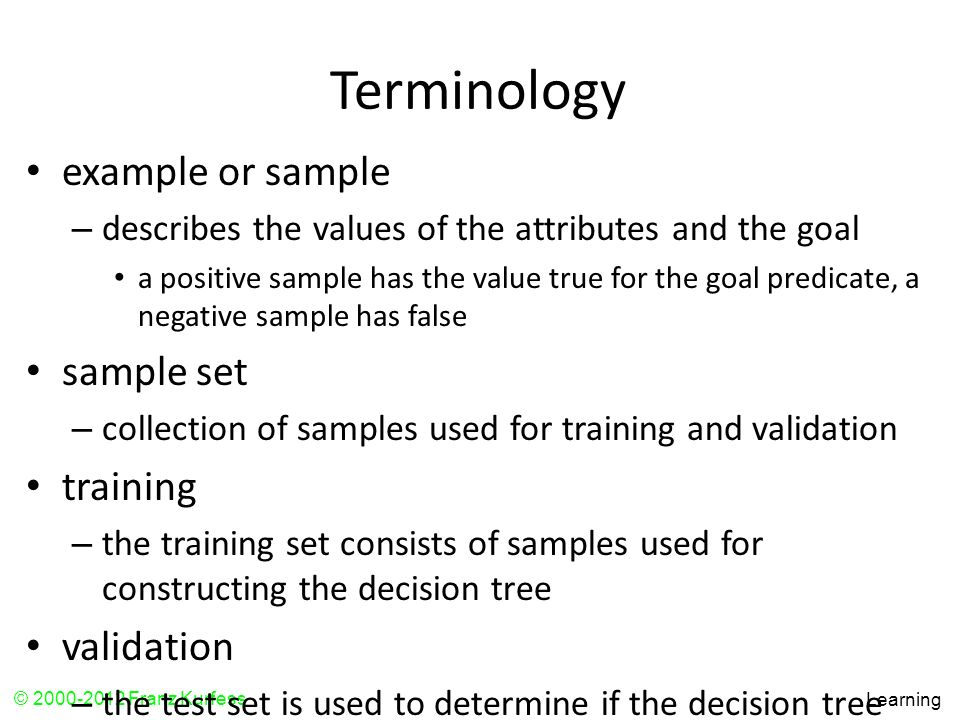 Terminology example or sample sample set training validation