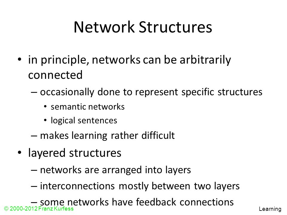Network Structures in principle, networks can be arbitrarily connected