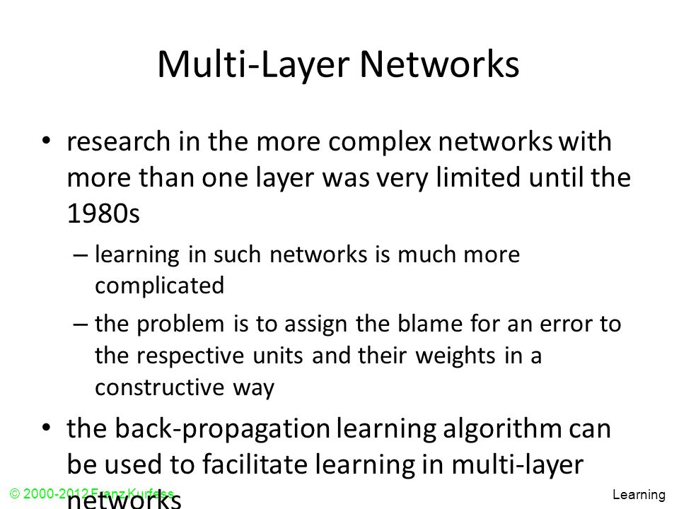 Multi-Layer Networks research in the more complex networks with more than one layer was very limited until the 1980s.