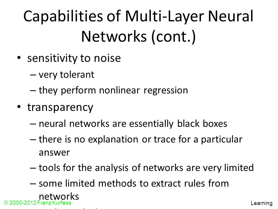 Capabilities of Multi-Layer Neural Networks (cont.)