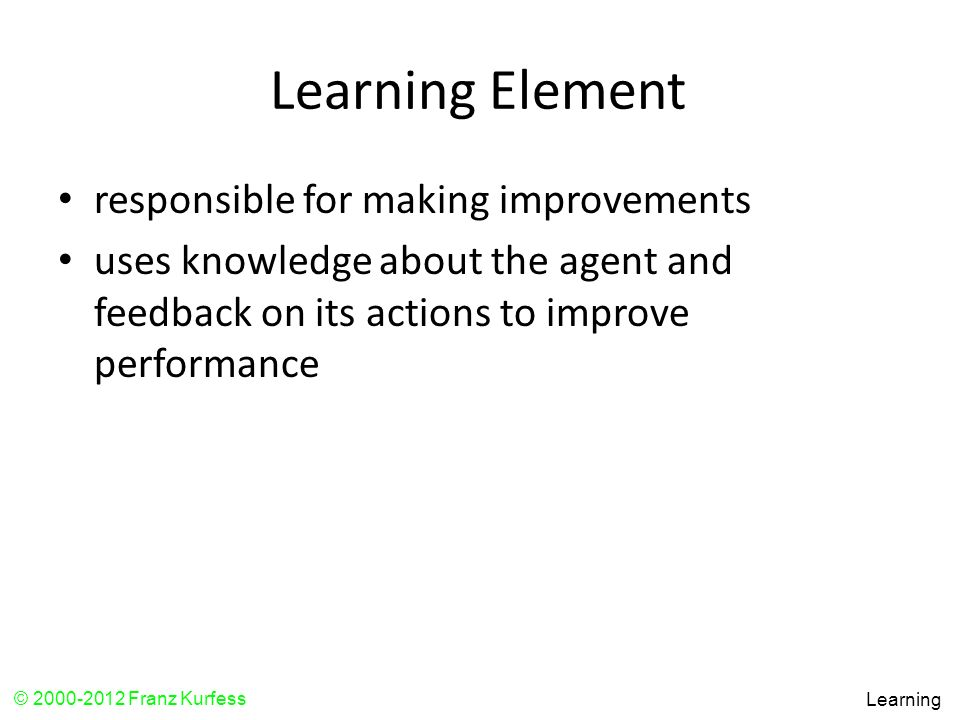 Learning Element responsible for making improvements
