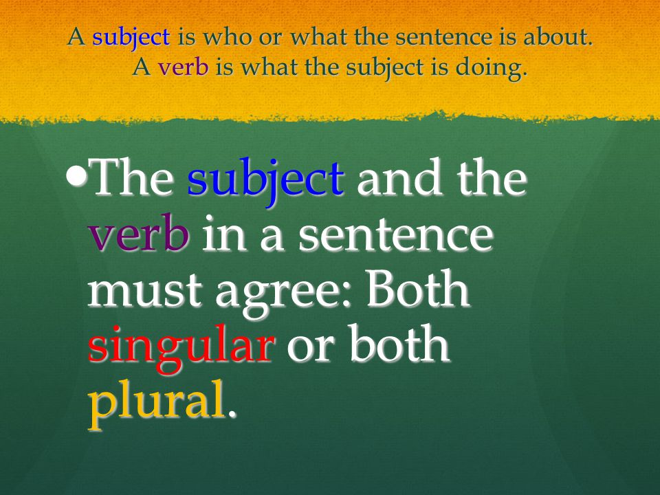 A subject is who or what the sentence is about