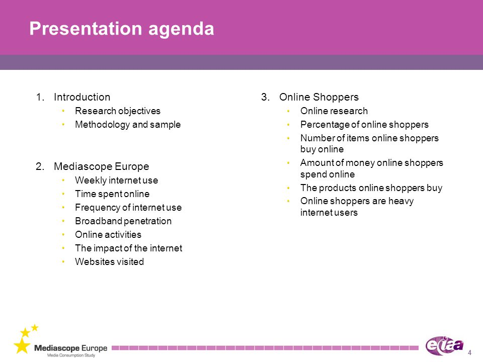 Presentation agenda 1. Introduction 3. Online Shoppers