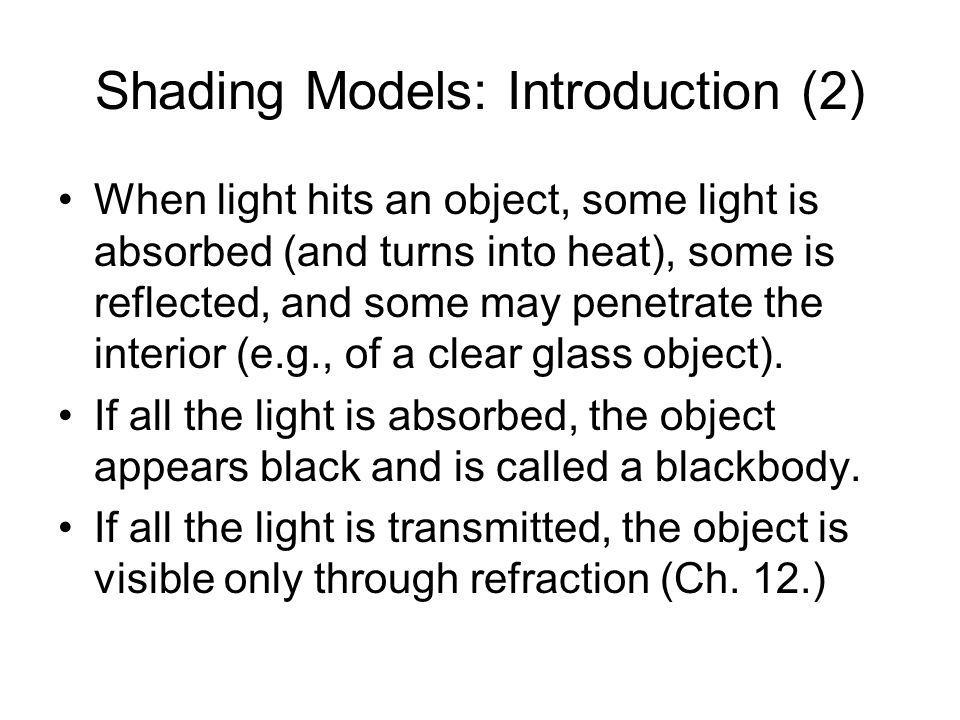 Shading Models: Introduction (2)