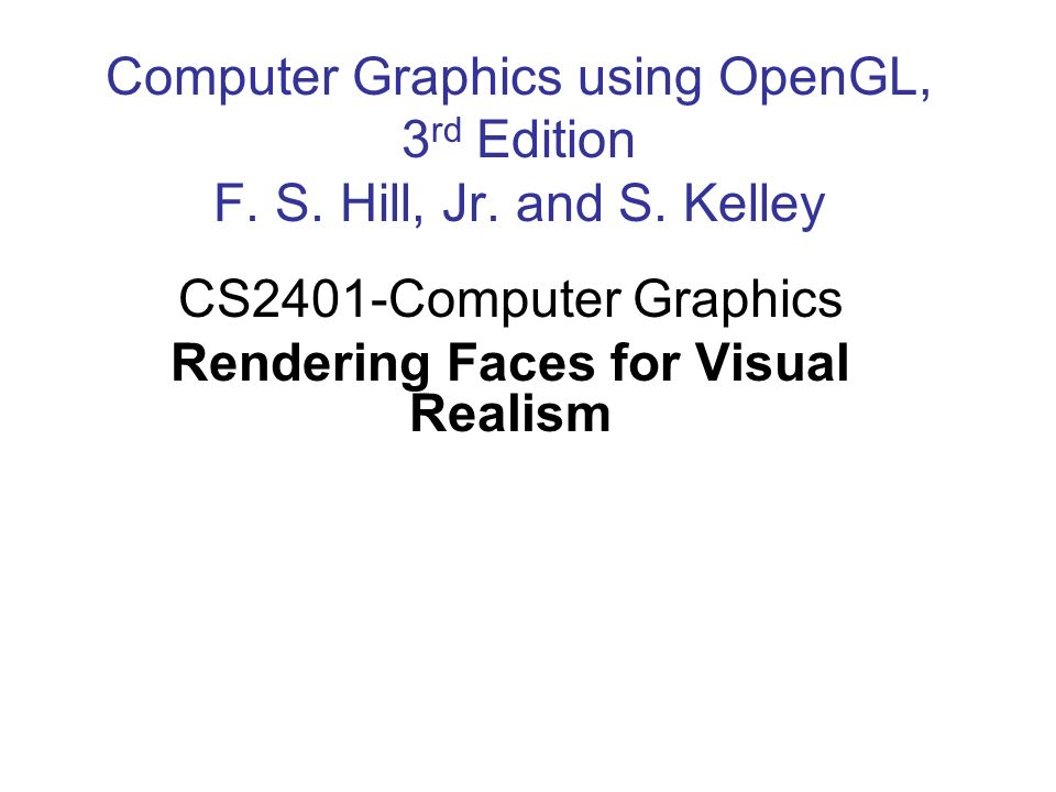 CS2401-Computer Graphics Rendering Faces for Visual Realism