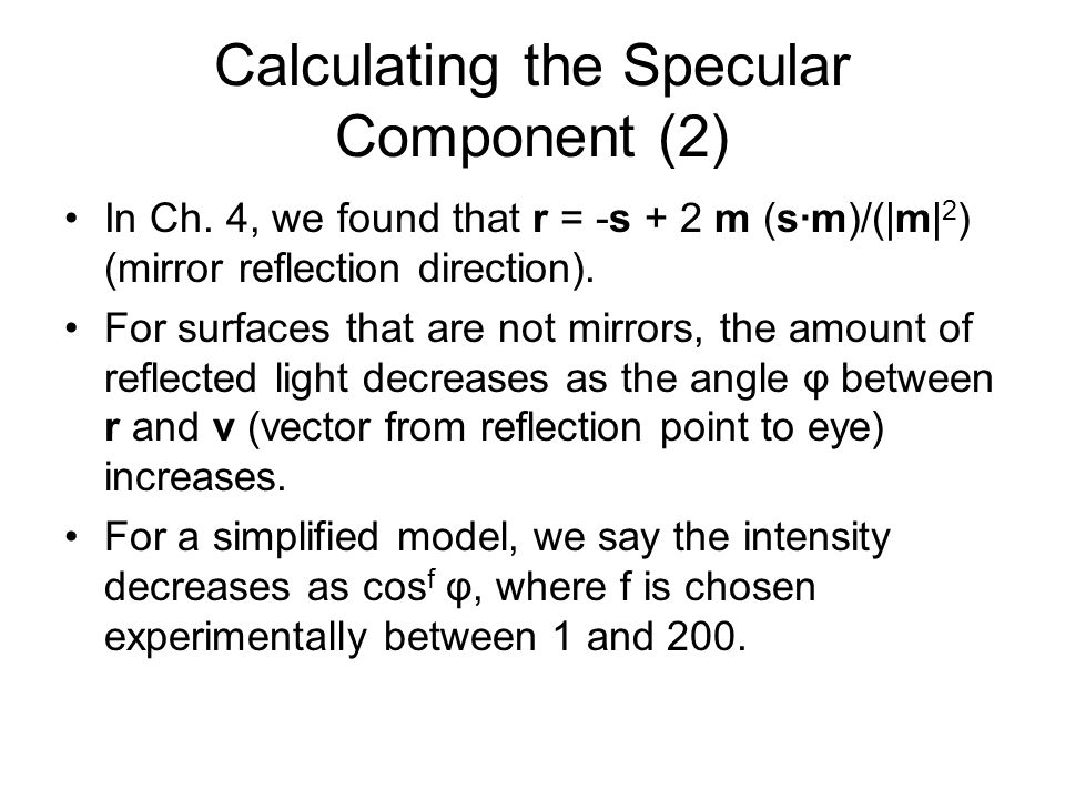 Calculating the Specular Component (2)