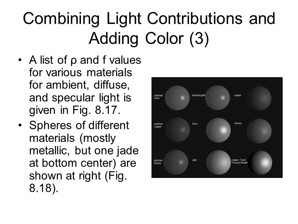 Combining Light Contributions and Adding Color (3)