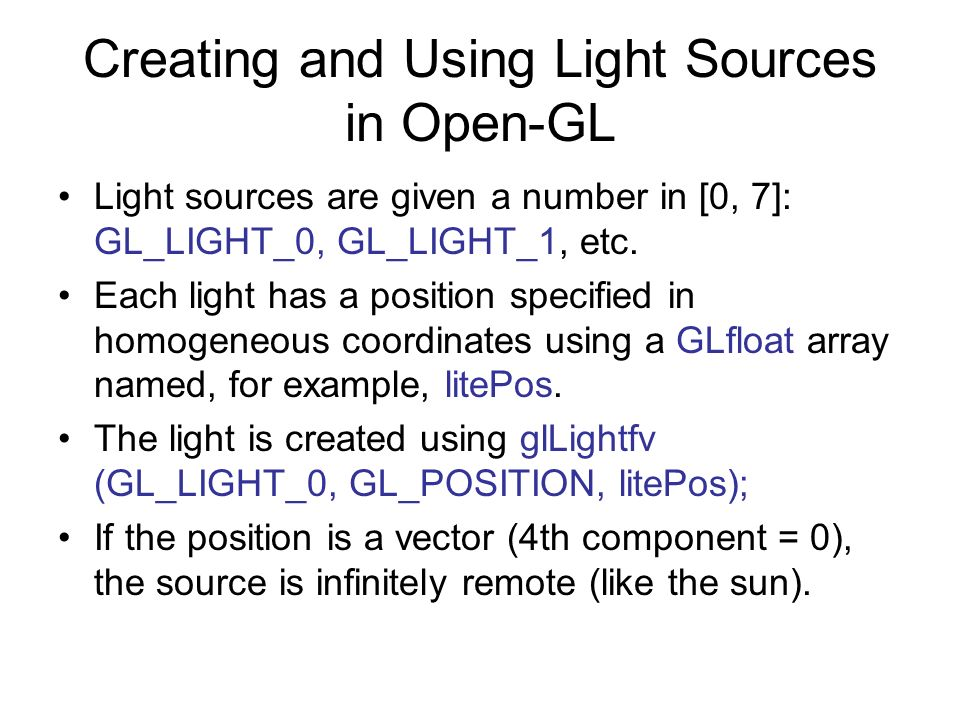 Creating and Using Light Sources in Open-GL