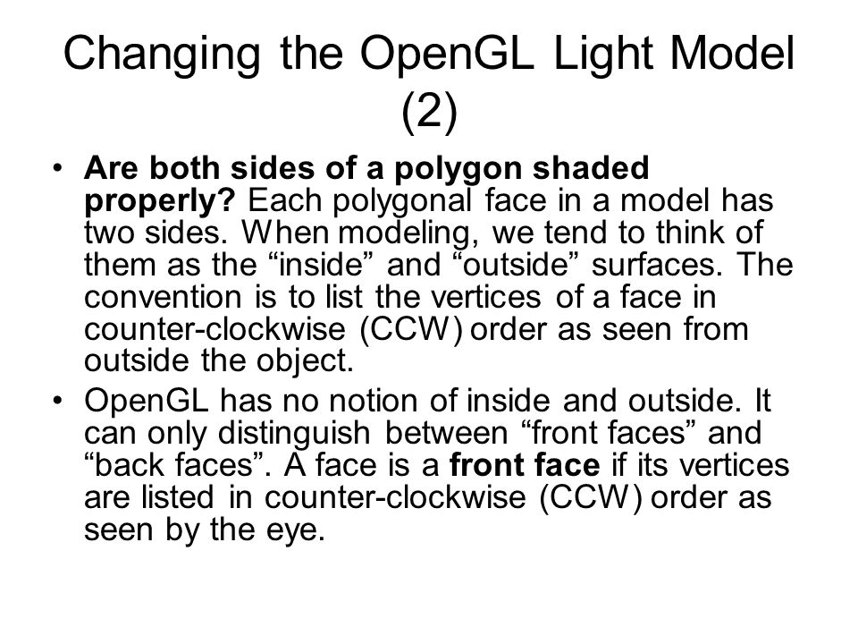 Changing the OpenGL Light Model (2)