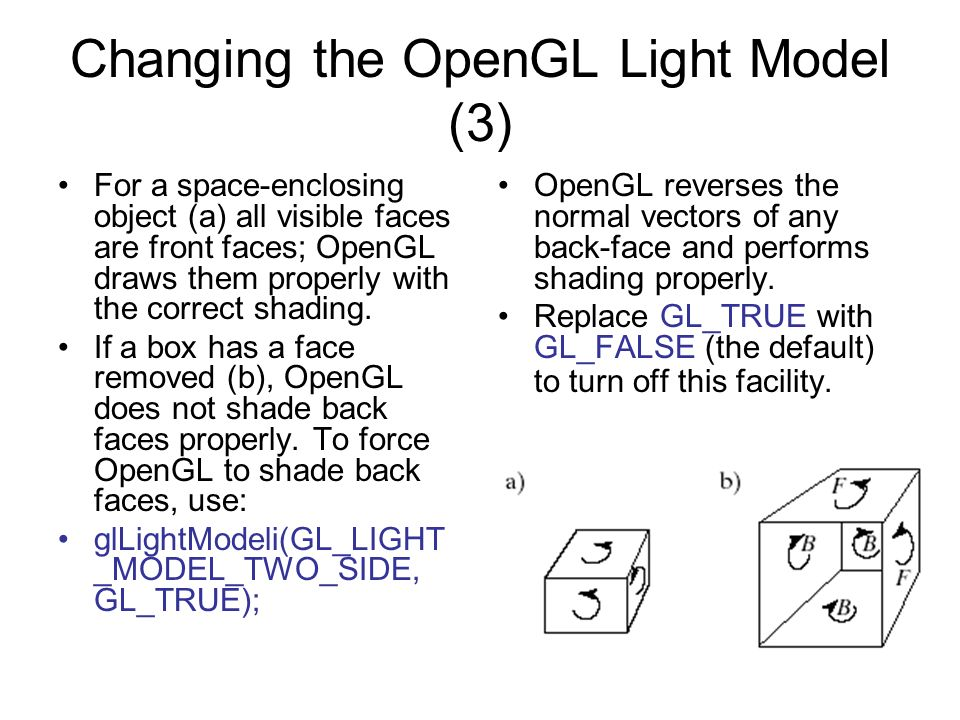 Changing the OpenGL Light Model (3)