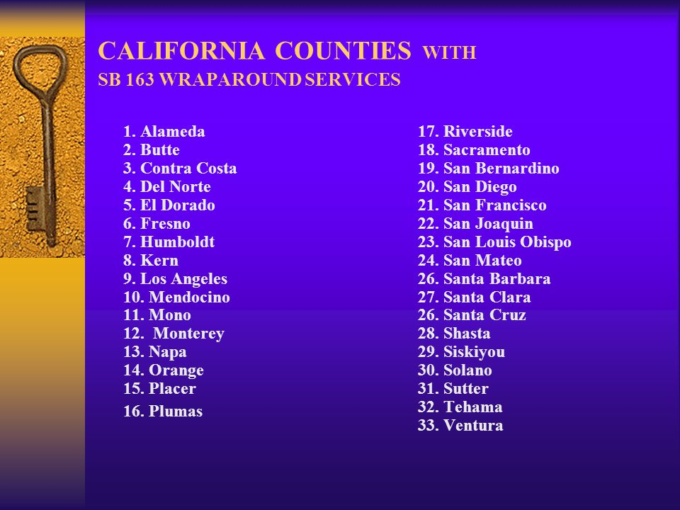 CALIFORNIA COUNTIES WITH SB 163 WRAPAROUND SERVICES