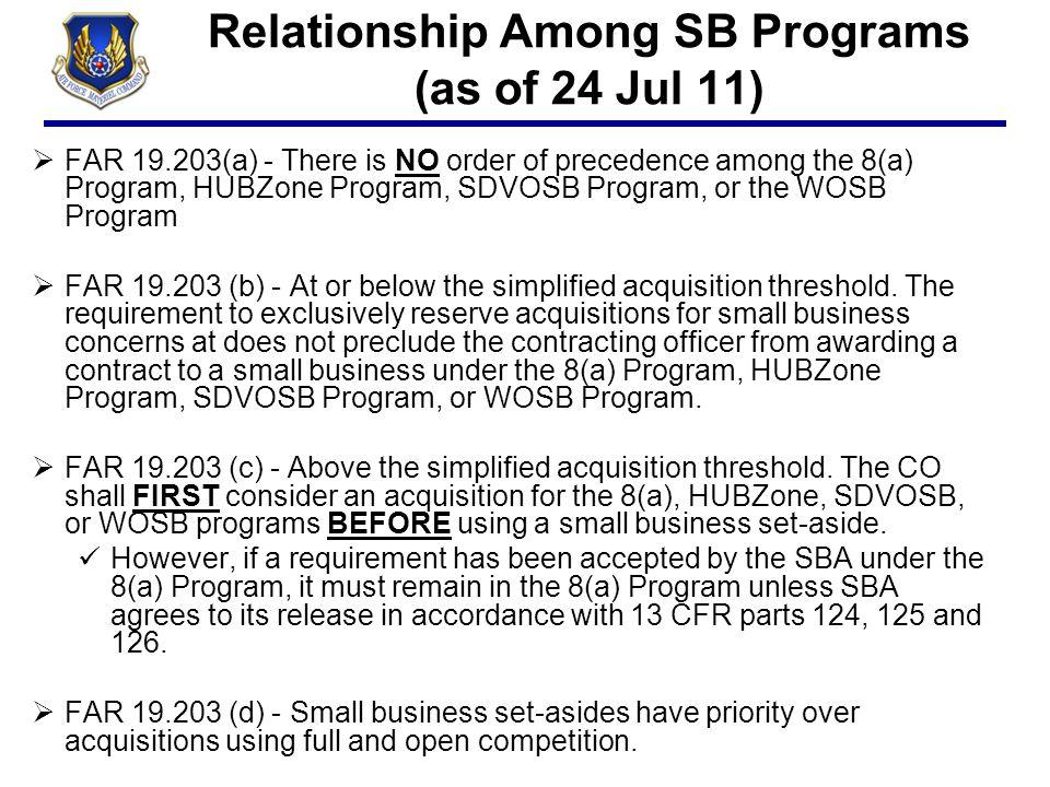 Relationship Among SB Programs (as of 24 Jul 11)