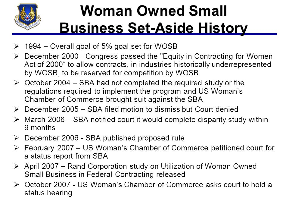 Woman Owned Small Business Set-Aside History