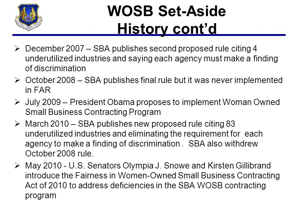 WOSB Set-Aside History cont'd